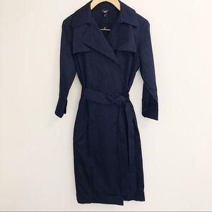Talbots 4P Navy 3/4 Sleeve Cotton Trench Coat NWT